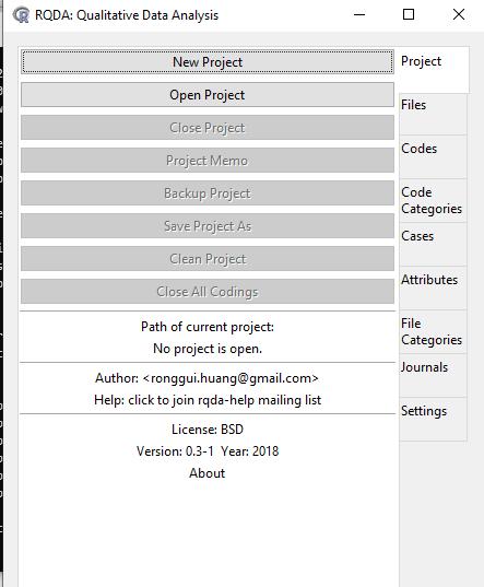 RQDA user interface